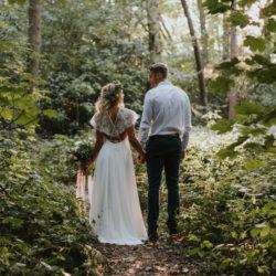 boho wedding dress in woods